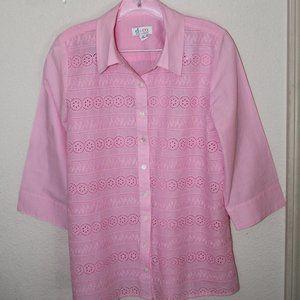 D & CO Women's Pink Lace Shirt Size-S Item Informa